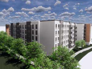 Axis Student Living Rendering of Building